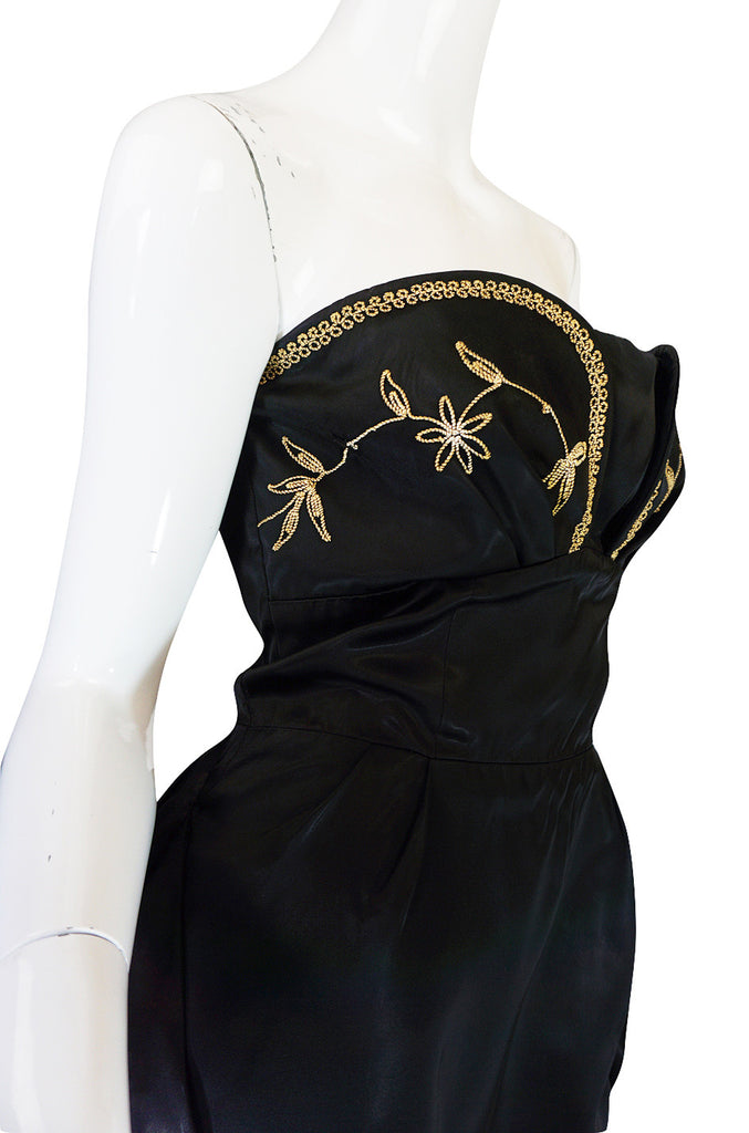 1950s Embroidered Strapless Slipper Satin Dress