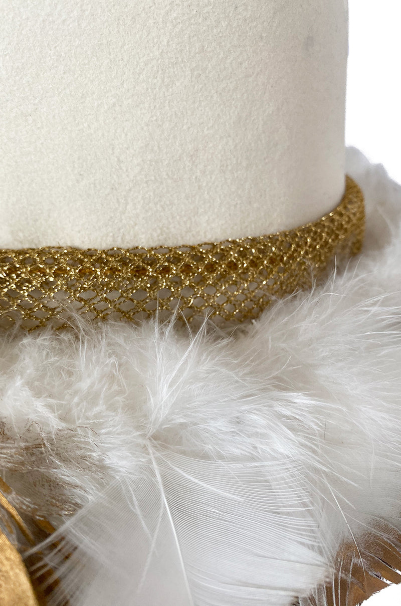 Incredible 1960s Christian Dior Gold Tipped Feather Brim Ivory Hat