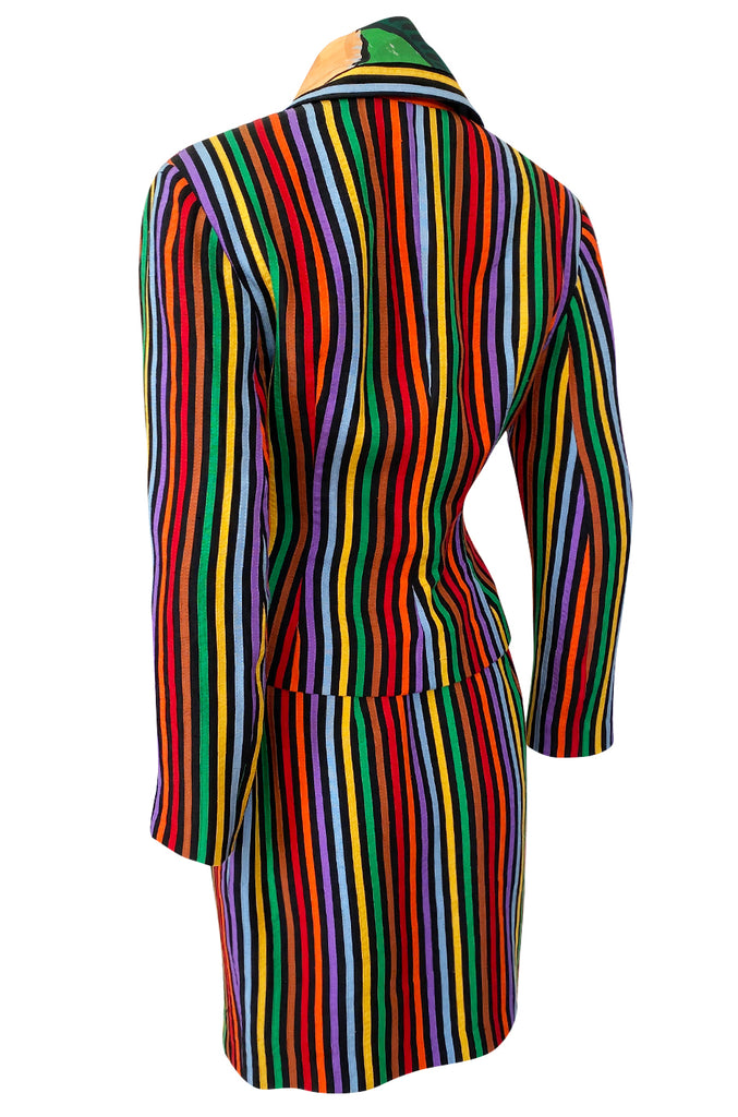 Spring 1992 Todd Oldham Floral Top w Rainbow Striped Jacket & Skirt Suit