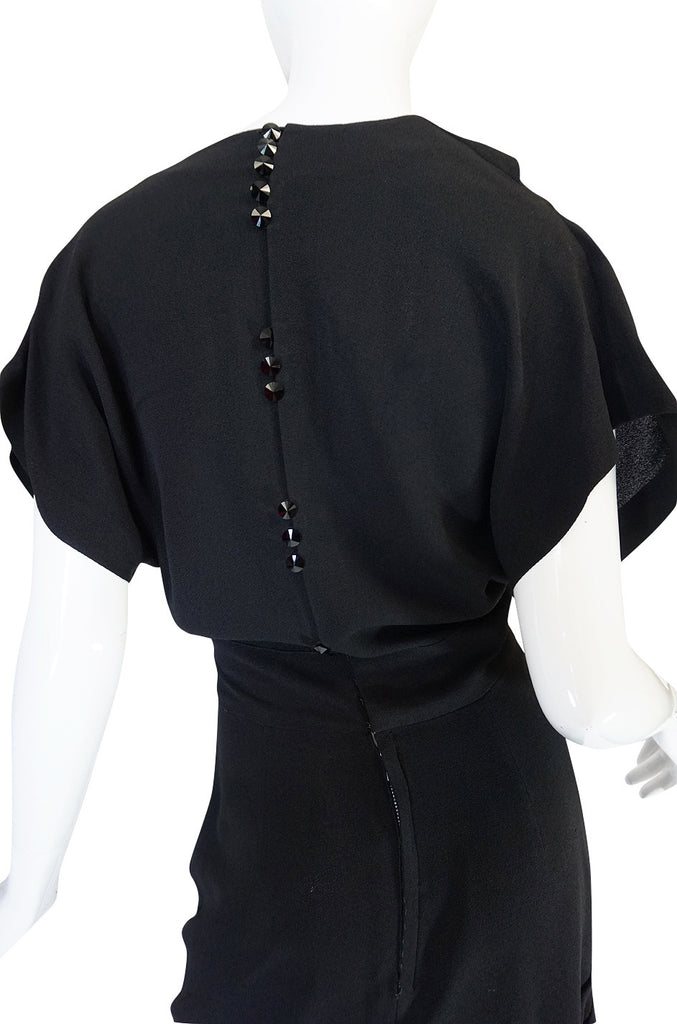 Dramatic 1940s Adrian Original Black Crepe Swing Dress