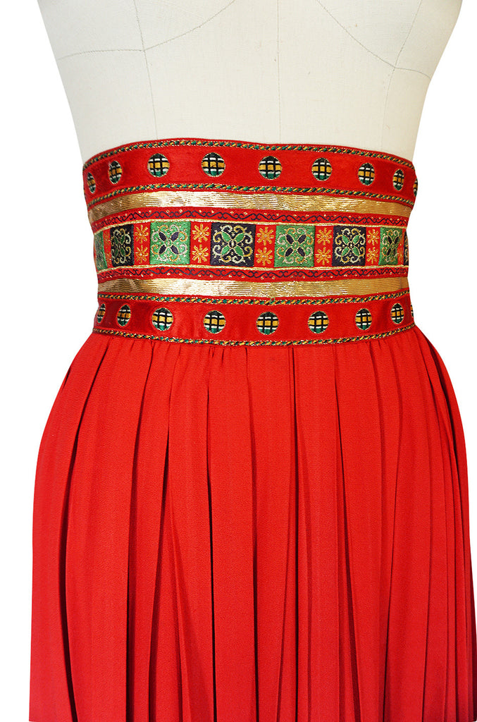 1970s Red Lanvin Demi-Couture Pleat & Silk Brocade Skirt