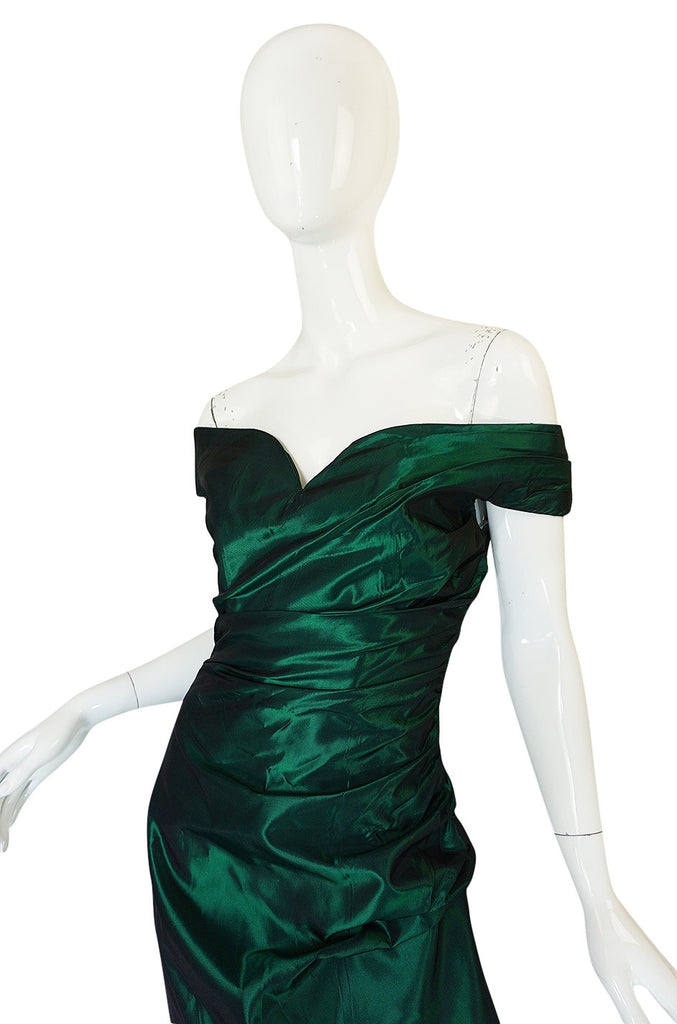 1980s Emerald Silk Taffeta Dior Off Shoulder Dress