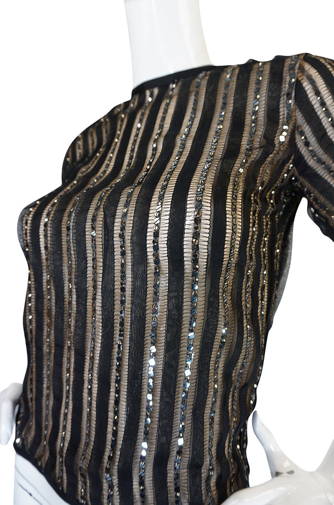 1970s Yves Saint Laurent True Haute Couture Silk Sequin Top