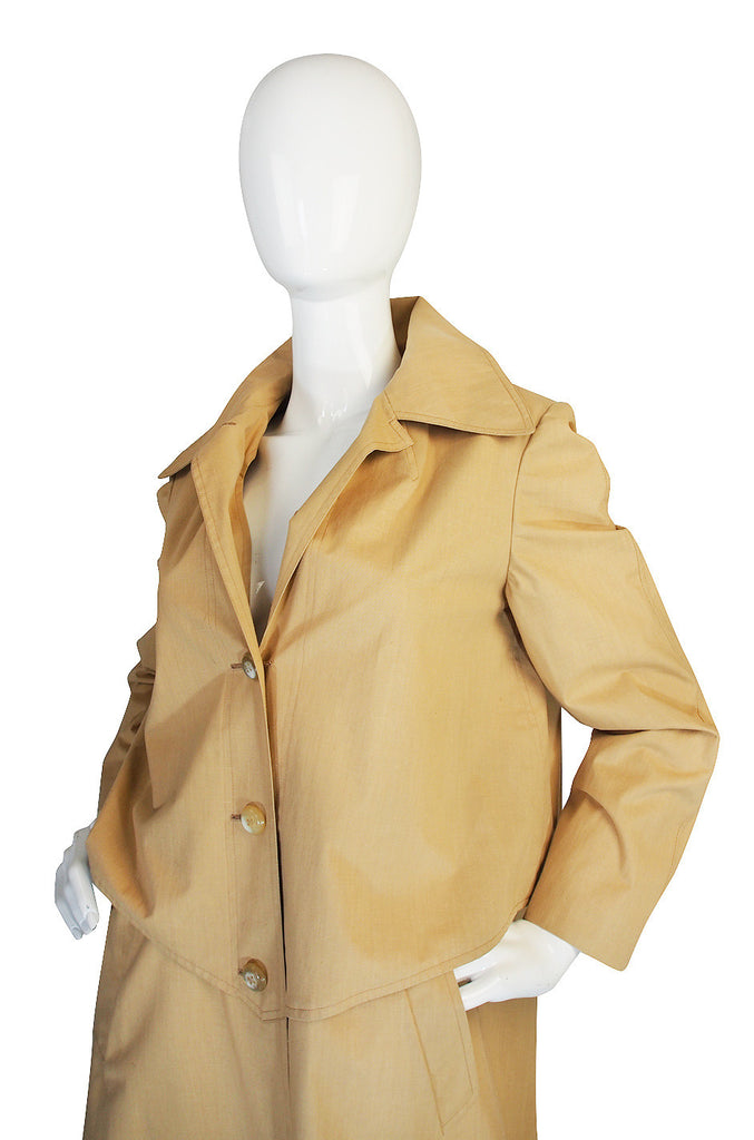 Late 1950s Rare Hermes Coated Cotton Trench Coat