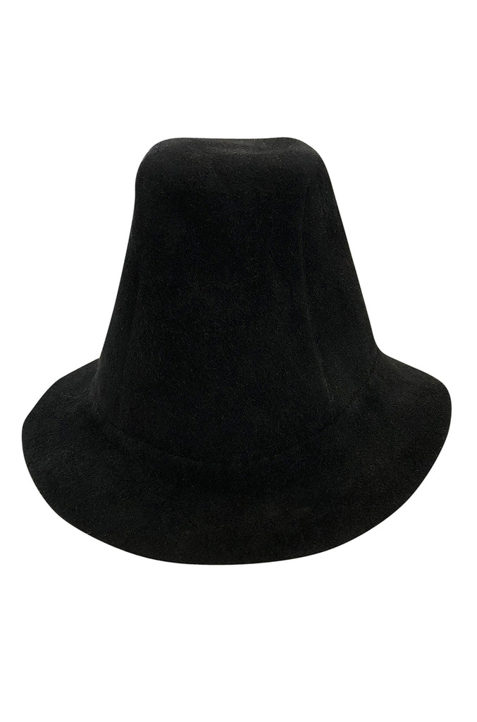 1940s Stylist Hat Salon High Set Black Felt Tilt Hat