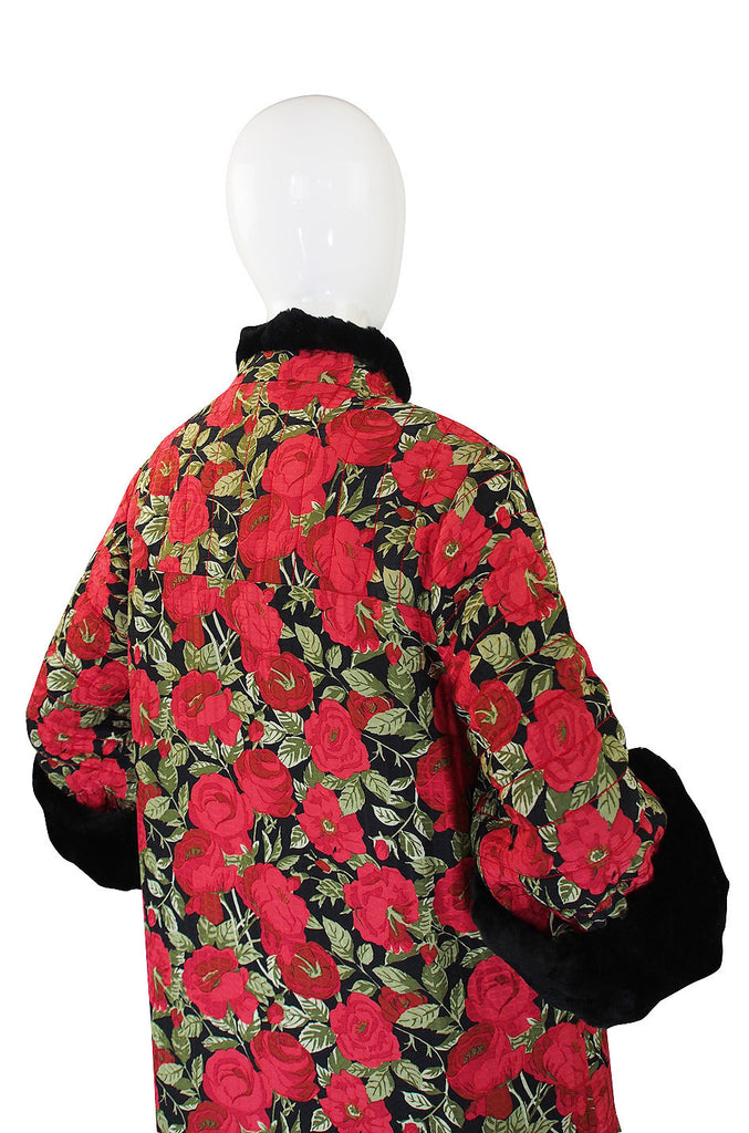 1970s Fur Trimmed Christian Floral Silk Dior Coat