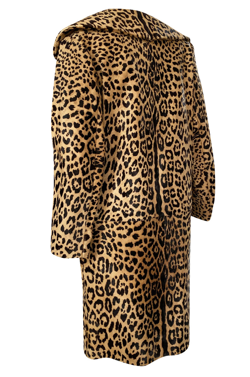 1960s Mexican Leopard Print Pony Coat w Piped Leather Detailing