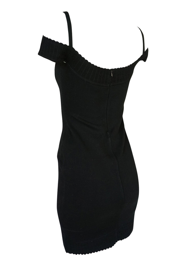Documented 1992 Azzedine Alaia Off Shoulder Black Knit Dress