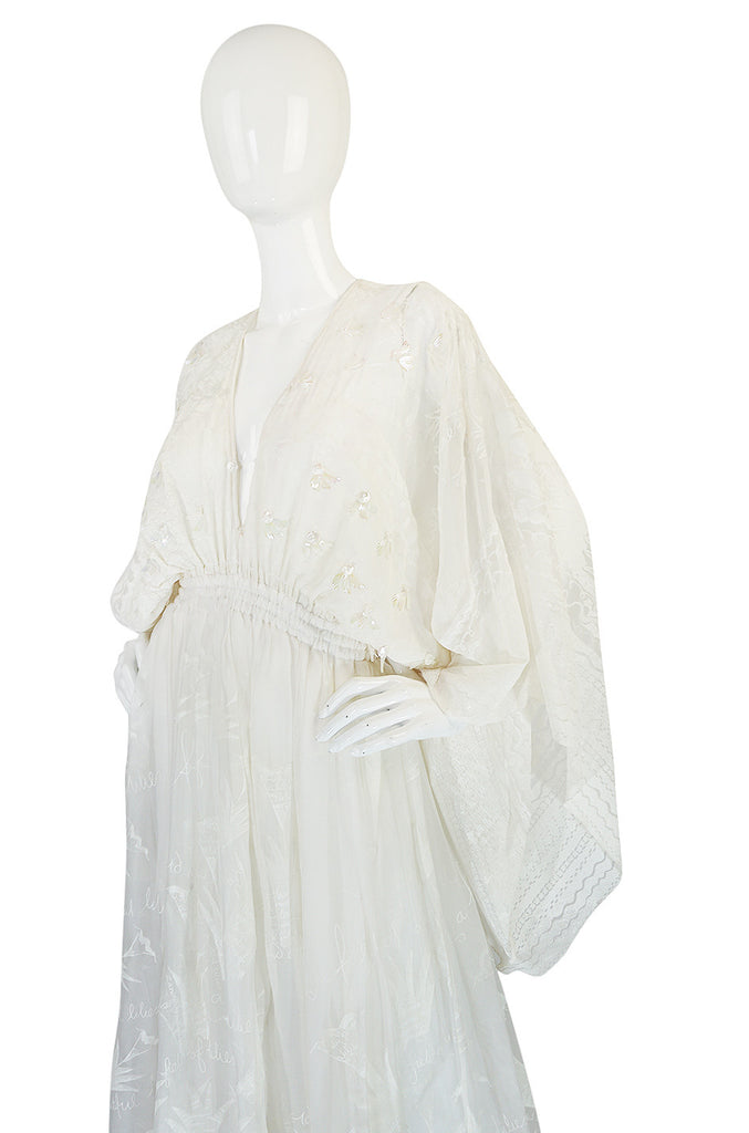 Ethereal 1974 Zandra Rhodes White Lillies of the Field Dress