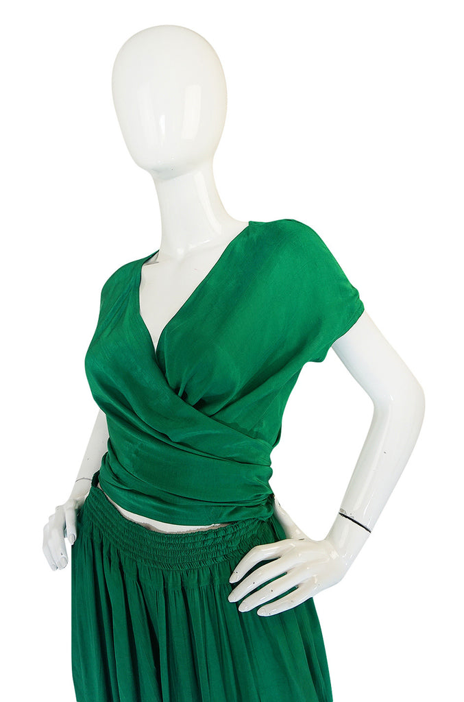 1980s Emerald Green Jean Muir Flowing Wrap Top & Pants