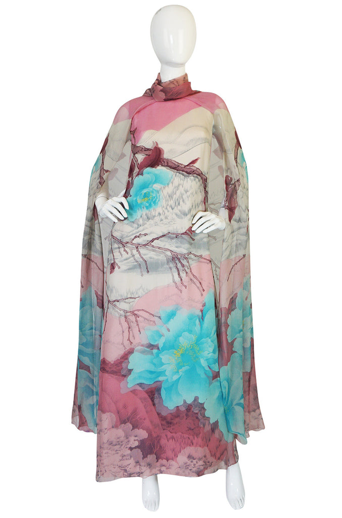 1970s Hanae Mori Couture Silk Chiffon Scenic Floral Dress