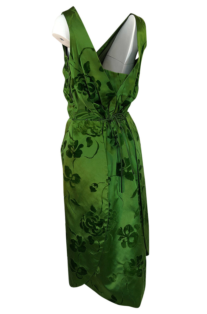 c.1955 Jean Desses Green Silk Dress w Fused Velvet Detailing