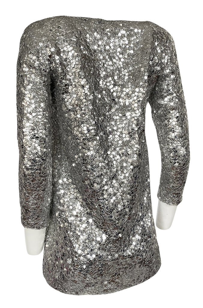 Spring 2008 Balmain by Christophe Decarnin Sequin Silver Tunic or Micro Mini