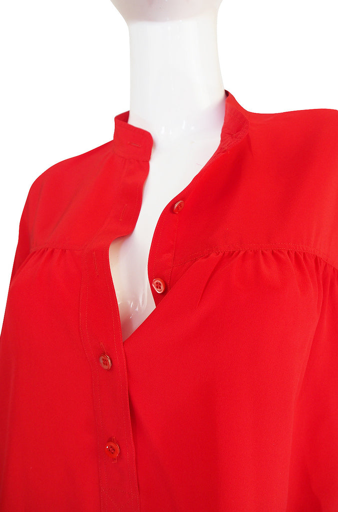 1970s Yves Saint Laurent Red Silk Smock Top