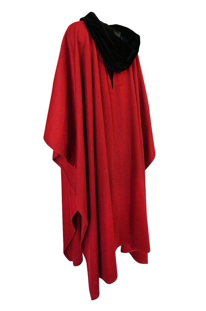 1970s-1980s Yves Saint Laurent Red Wool Cape w Black Velvet Hood
