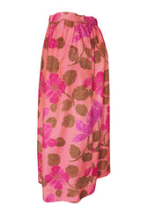1960s Unlabeled Pink Exotic Floral Print Thai Silk Skirt