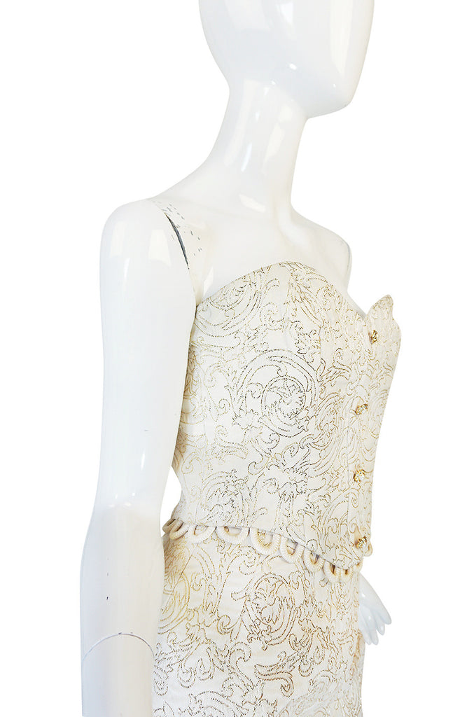 1980s Zandra Rhodes Gold & Cream Bustier Skirt Set