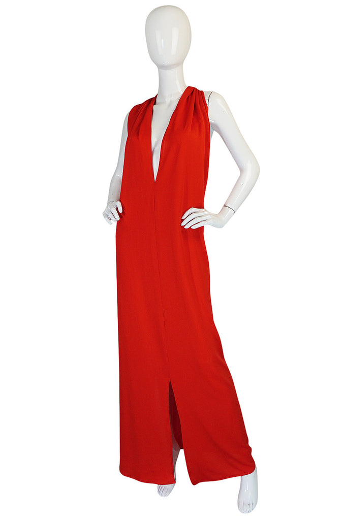 1970s Convertible Plunge & Tie Red Jersey Maxi Dress