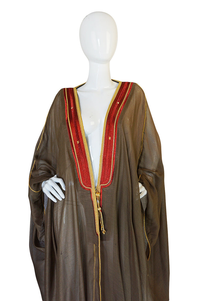 1970s Deep Taupe Caftan w Red & Gold Thread Embroidered Trim