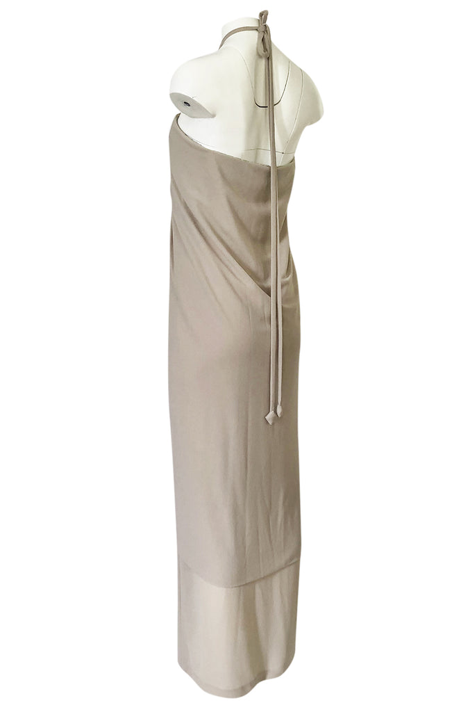 1980s Bill Blass Sand Coloured Silk Crepe Gathered Front Halter Dress