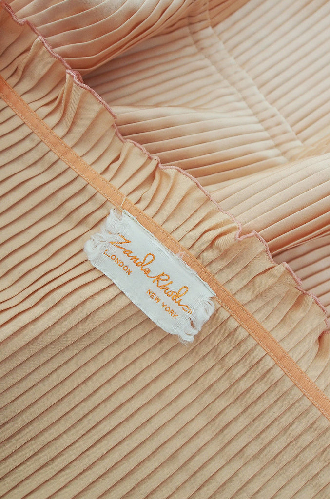 1970s Zandra Rhodes Pleated Peach Bed Jacket
