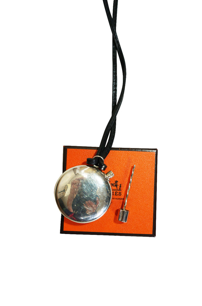 Hermes Silver 925 Perfume Bottle Pendant Necklace