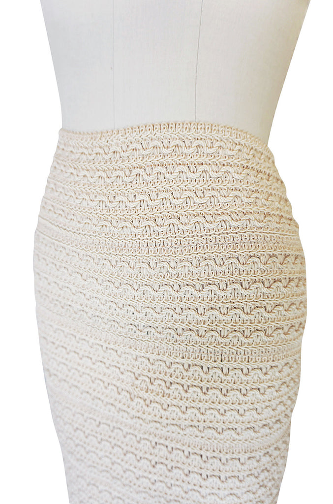 1980s Stretch Knit & Cord Kritzia Mini Skirt