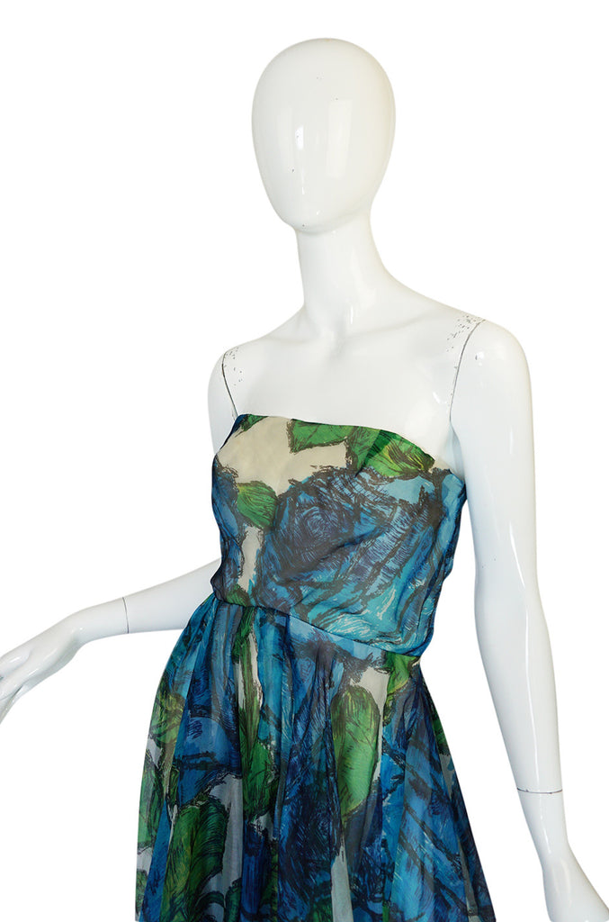 1950s Blue Strapless Silk Chiffon Helena Barbieri Dress