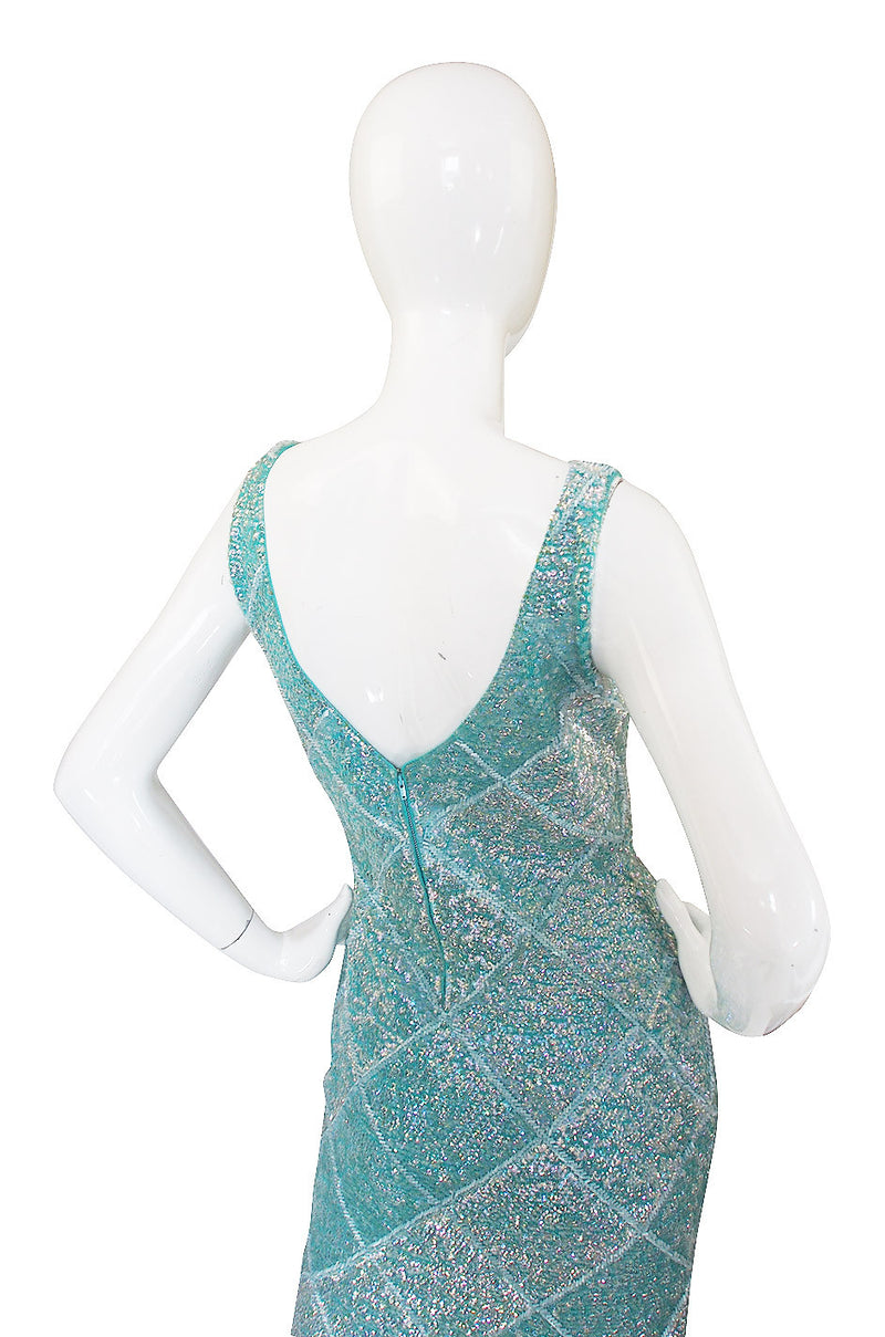 1960s Sequin Blue Gene Shelly Dress
