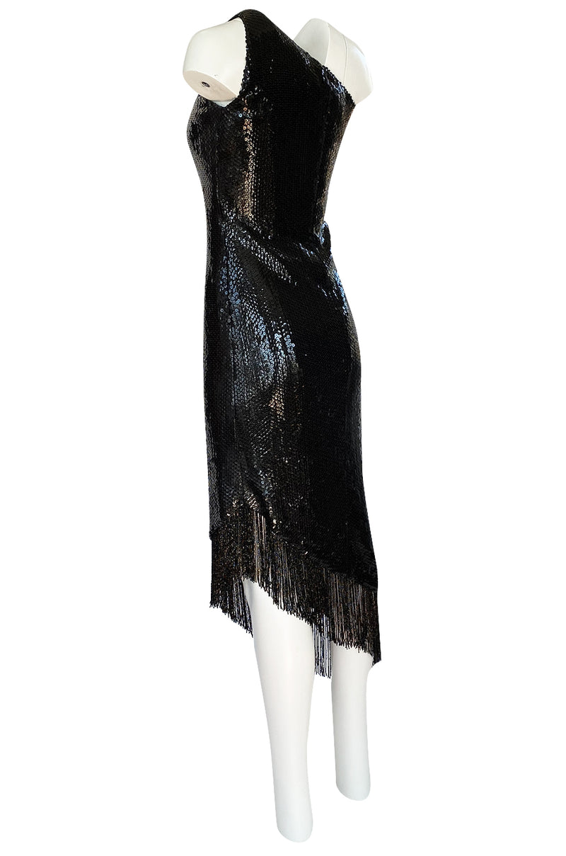 1974 Bill Blass One Shoulder Glossy Black Sequin Dress with Fringe Hem