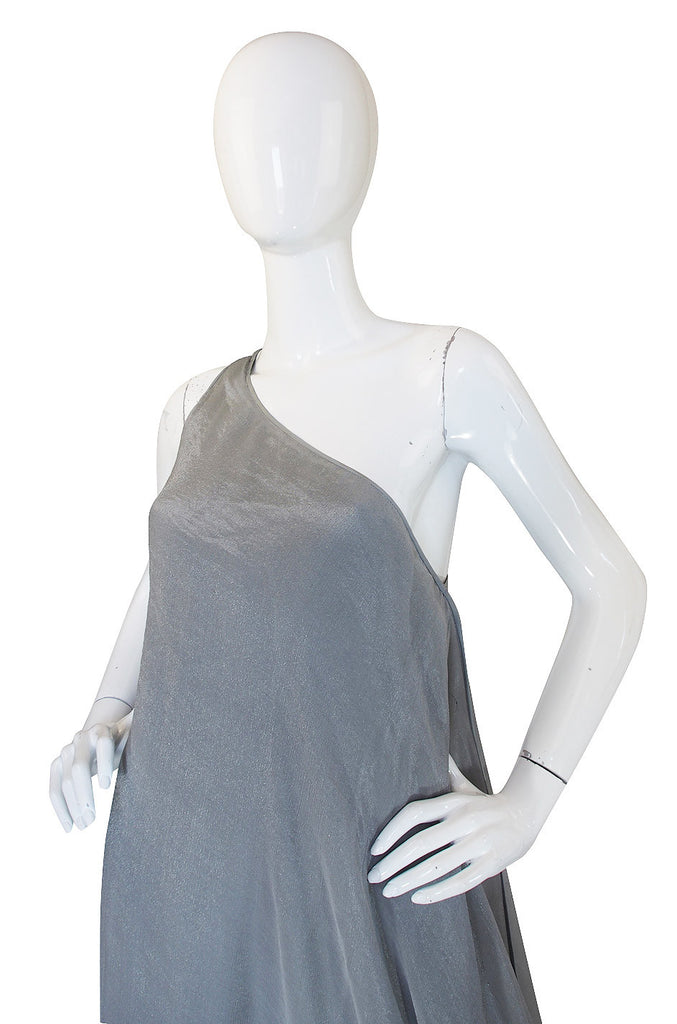1980s Donna Karan Silver One Shoulder Gown