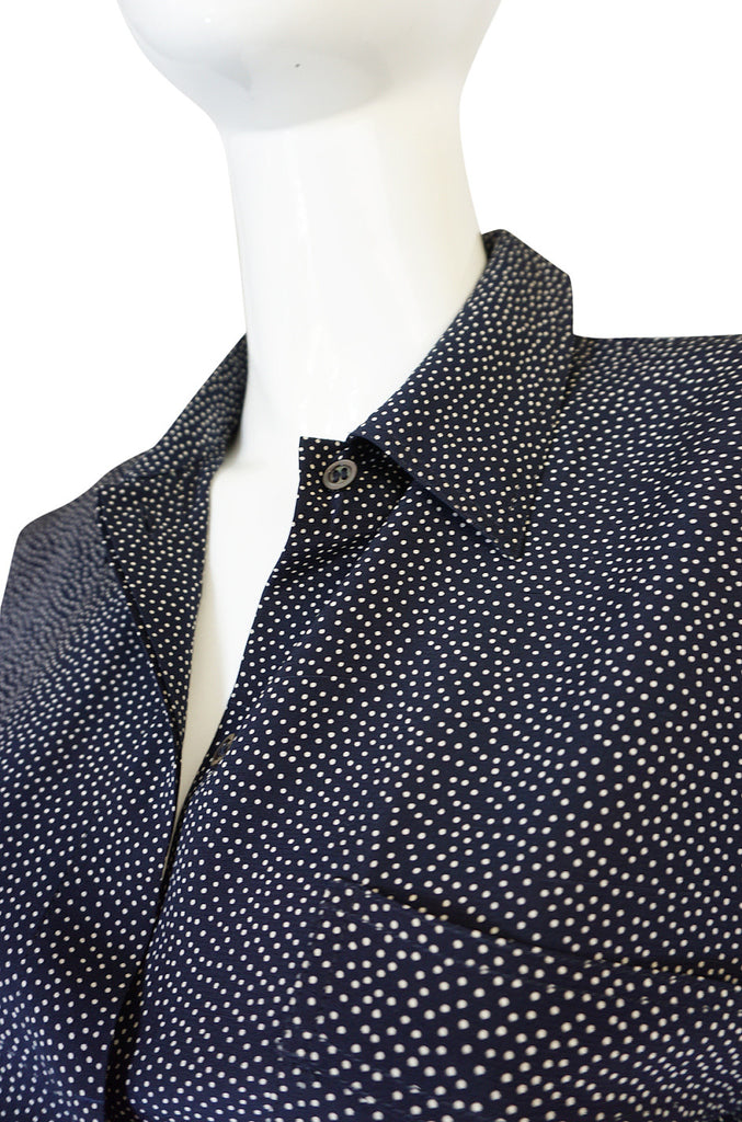 1970s Miss Valentino Navy Dot Silk Shirt