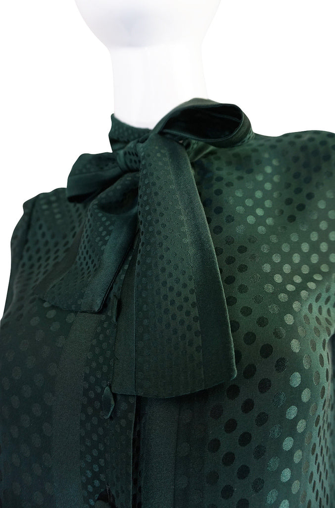 1970s Yves Saint Laurent attr Deep Green Silk Dot Top