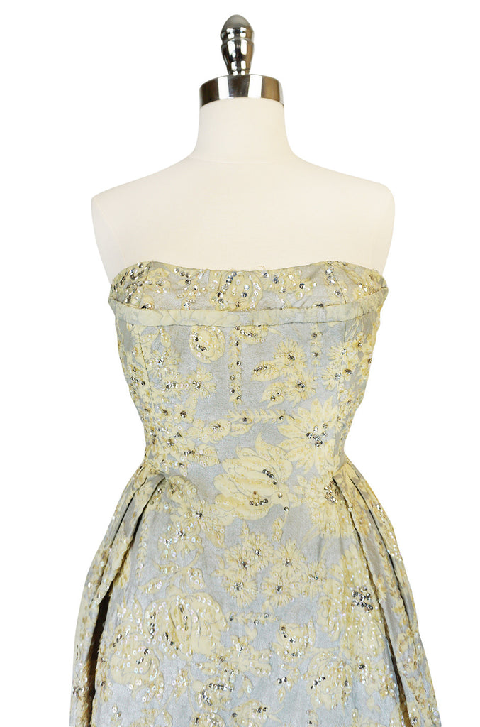 c.1953 Christian Dior Couture Silver & Sequin Fantasy Gown