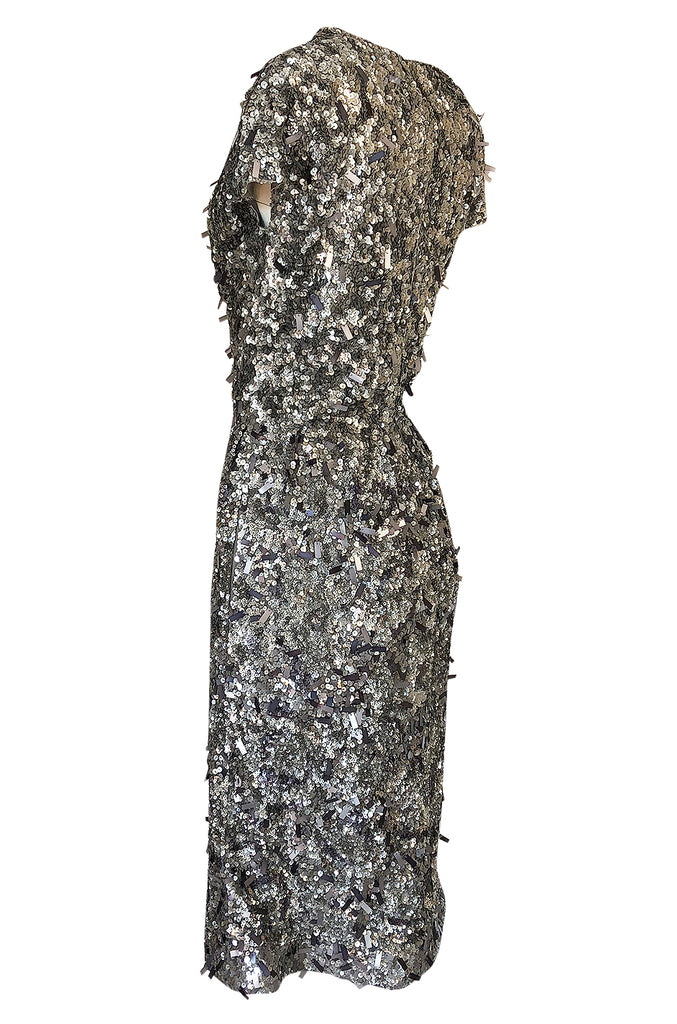 1980s Bill Blass Densely Covered Silver Sequin & Pailettes Dress