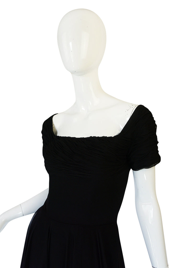 Stunning 1950s Little Black Silk Chiffon Ceil Chapman Dress