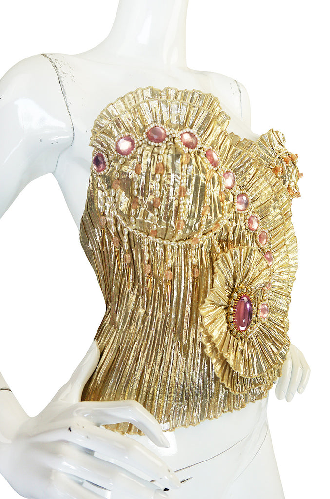 1980s One of a Kind Anthony Ferrara Gold Bead Bustier