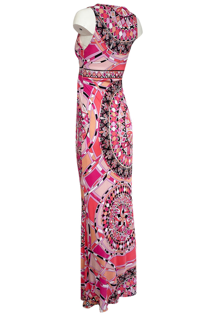 Recent 2000s Emilio Pucci Sleeveless Pink Silk Jersey Print Dress w Tags