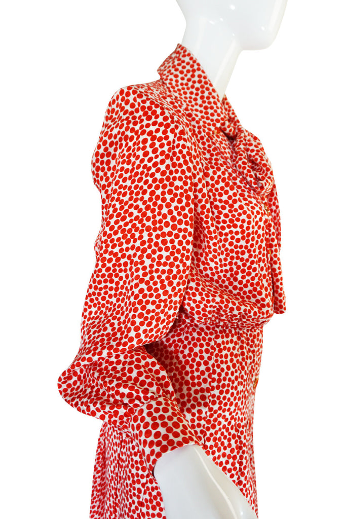 c1980 Yves Saint Laurent Red Silk Dot Day Dress