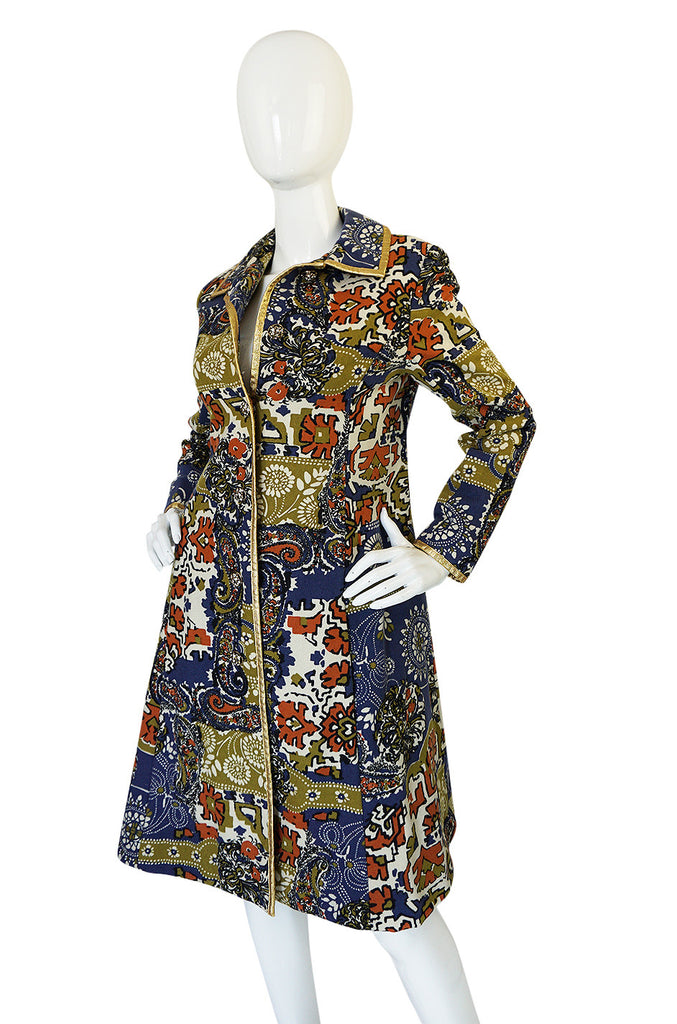1960s Gold Trimmed Felted Wool Print Malcolm Starr Coat
