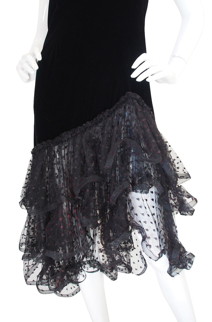 1980s Oscar de la Renta Velvet & Dotted Net Dress