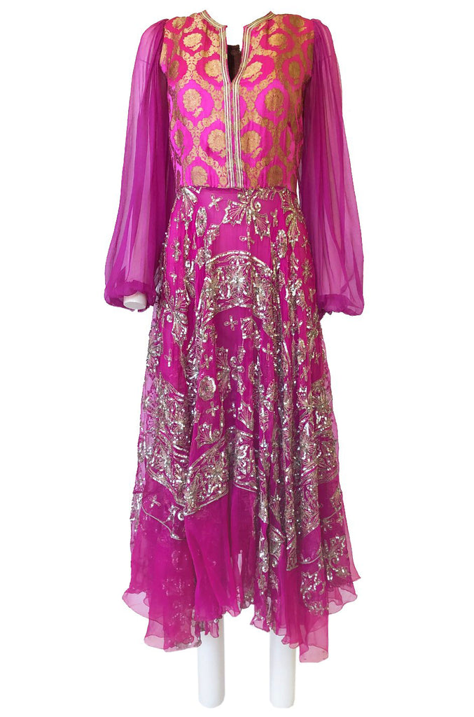 c1969 Thea Porter Couture Gold Brocade & Silver Metal Embroidered Fuchsia Dress