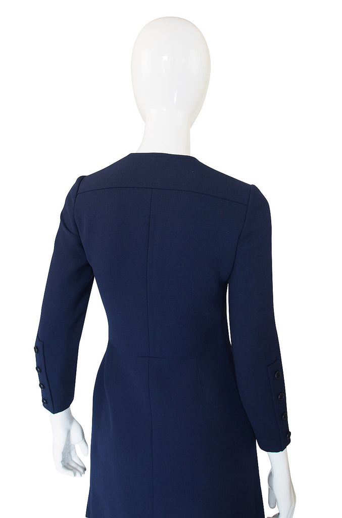 1960s Christian Dior Blue Front Button Dress
