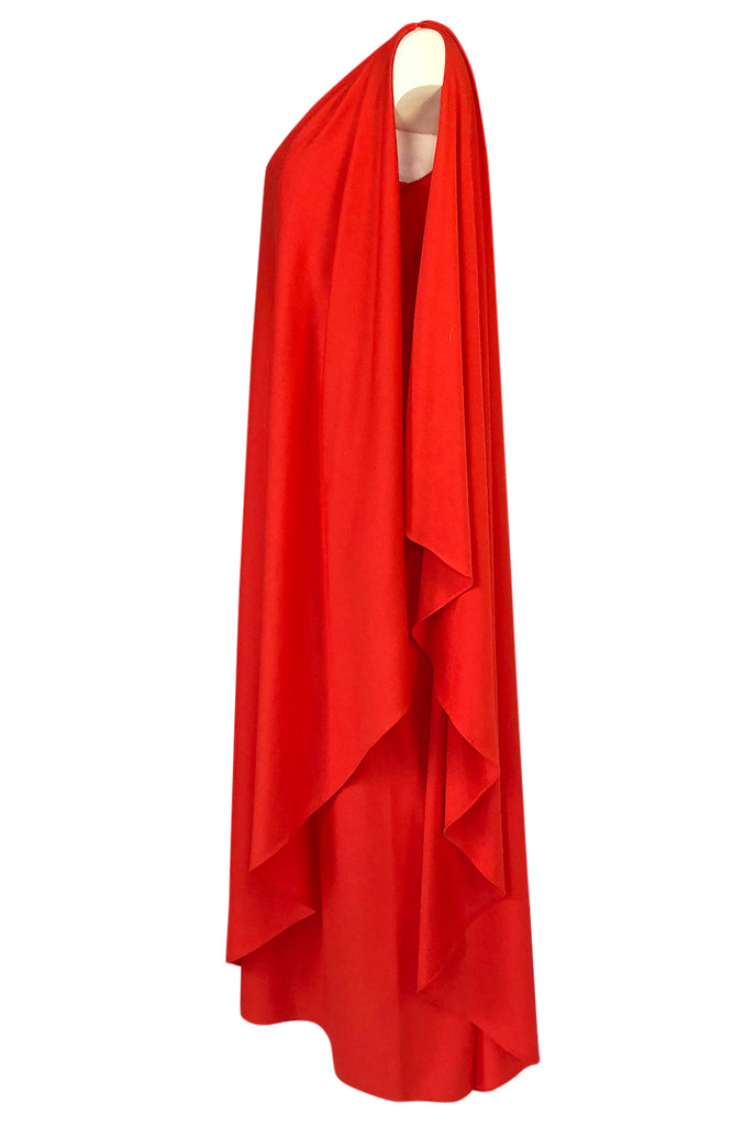 Documented 1978 Halston One Shoulder Red Draped Jersey Halston Dress