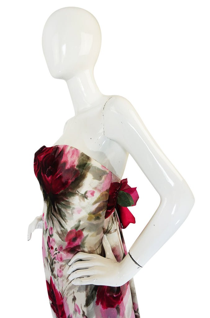 1950s Strapless Floral Silk Chiffon Helen Barbieri Dress