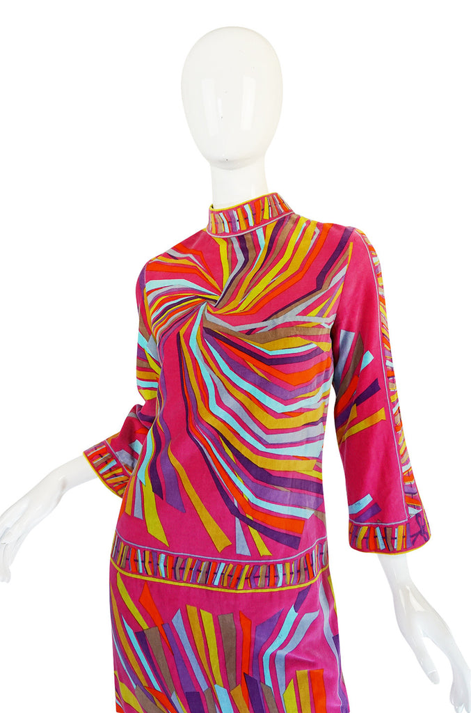 1960s Spectacular Vivid Pink Swirl Pucci Velvet Dress