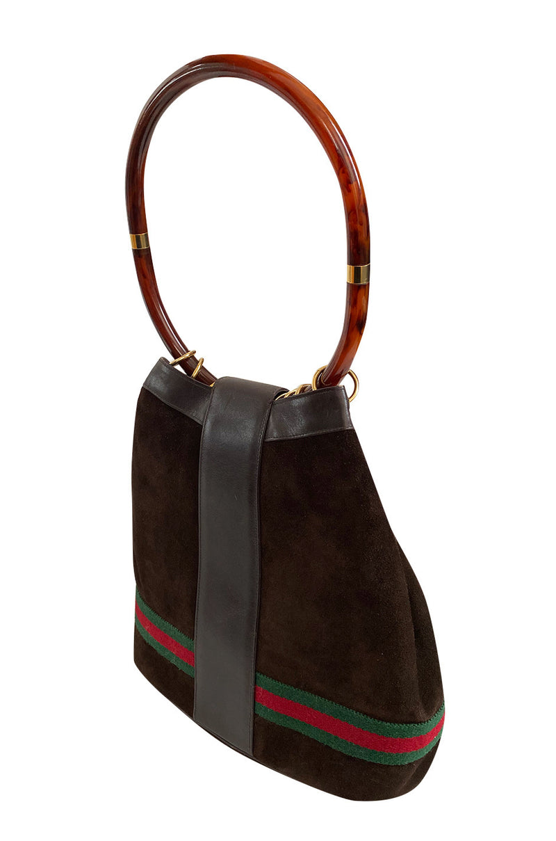Rare & Original 1970s Gucci Deep Chocolate Suede Bucket Bag w Lucite Handle & Stripes