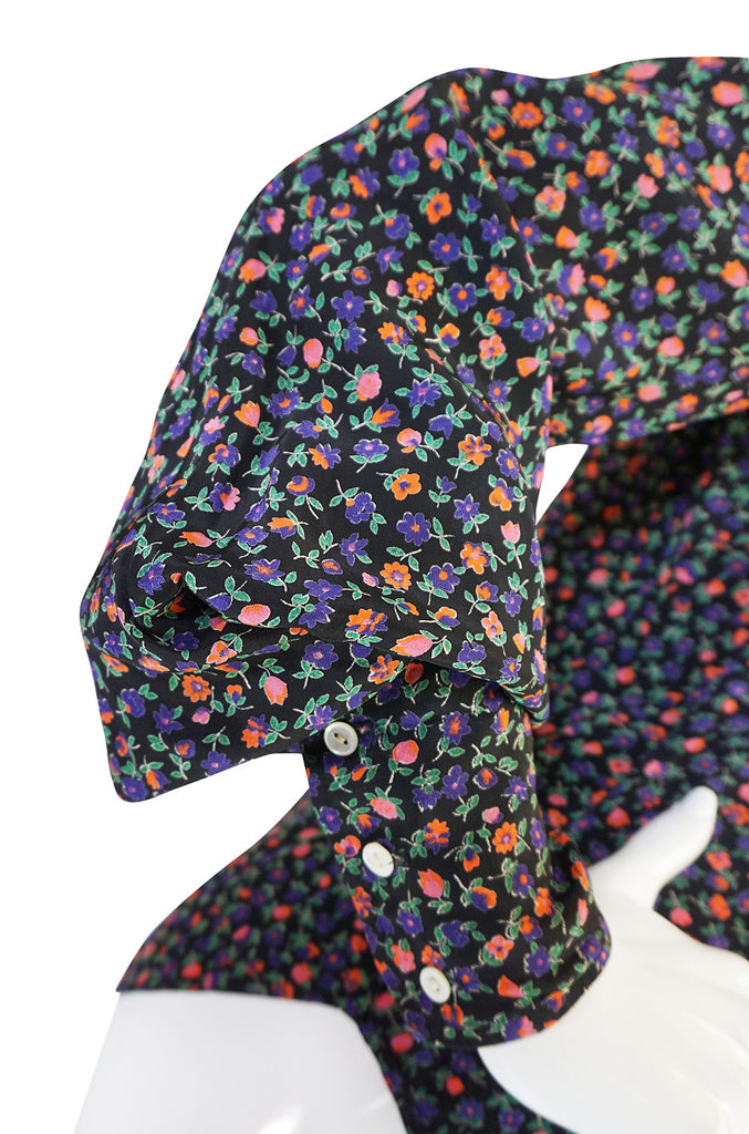 1960s Rare Tiny Floral Print Jeff Banks Silk Shirt