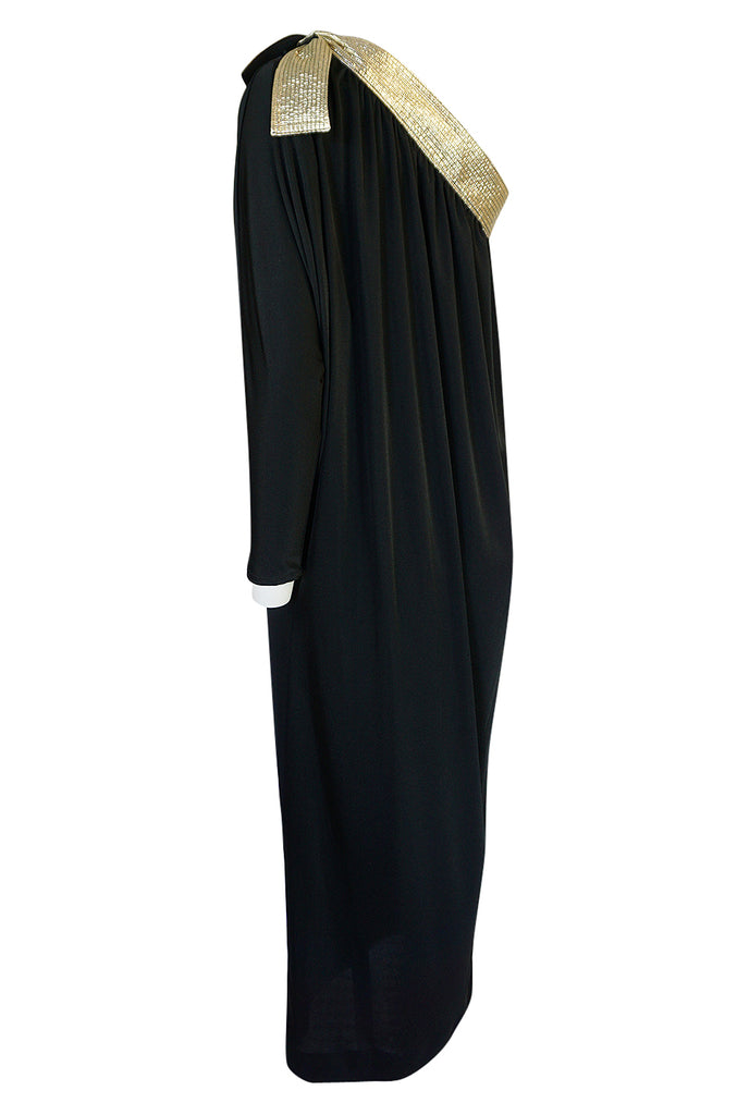 1980-1981 Bill Tice Black Jersey & Gold Accented Single Sleeve Dress