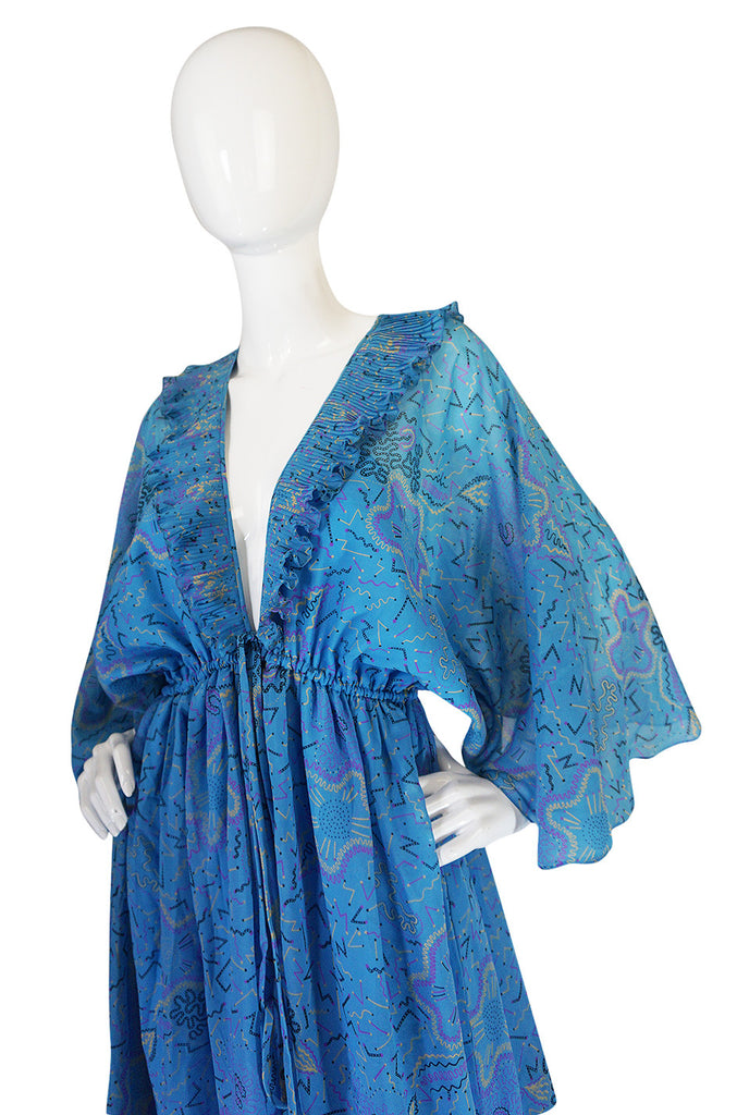 "1971 ""Paris Flower"" Print Zandra Rhodes Caftan Dress"